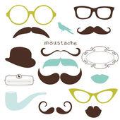 Seleciona retro - gafas de sol, labios, bigote — Foto de Stock