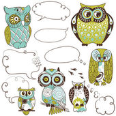 Collection of six different owls with speach bubbles — Stock Photo