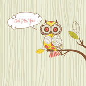 """Owl miss you"" card — Stock Photo"