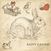 Vintage Easter rabbit — Stock Photo