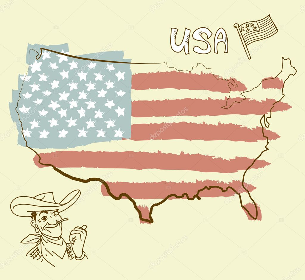 USA map with US flag — Stock Photo #9480678