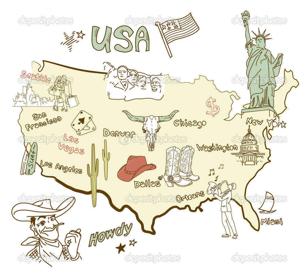 Stylized map of America. Things that different Regions in USA are famous for. — Stock Photo #9480746