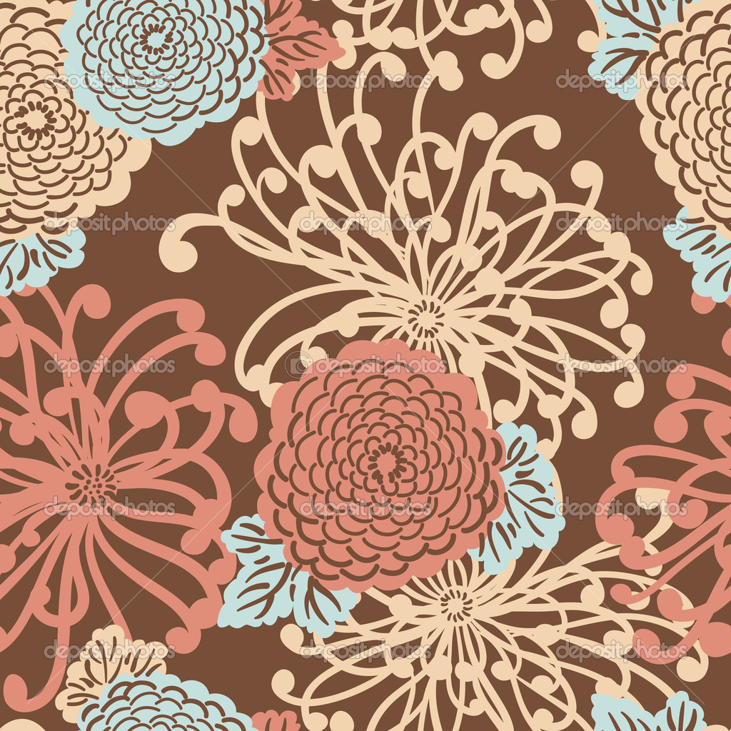 Art Deco Flower seamless pattern, retro style, vector illustration — Stock Photo #9482423
