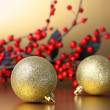 Christmas baubles and garland - Stock Photo