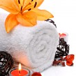Stock Photo: Spa border with towel and orange lily flower