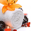 Stock Photo: Spborder with towel and orange lily flower
