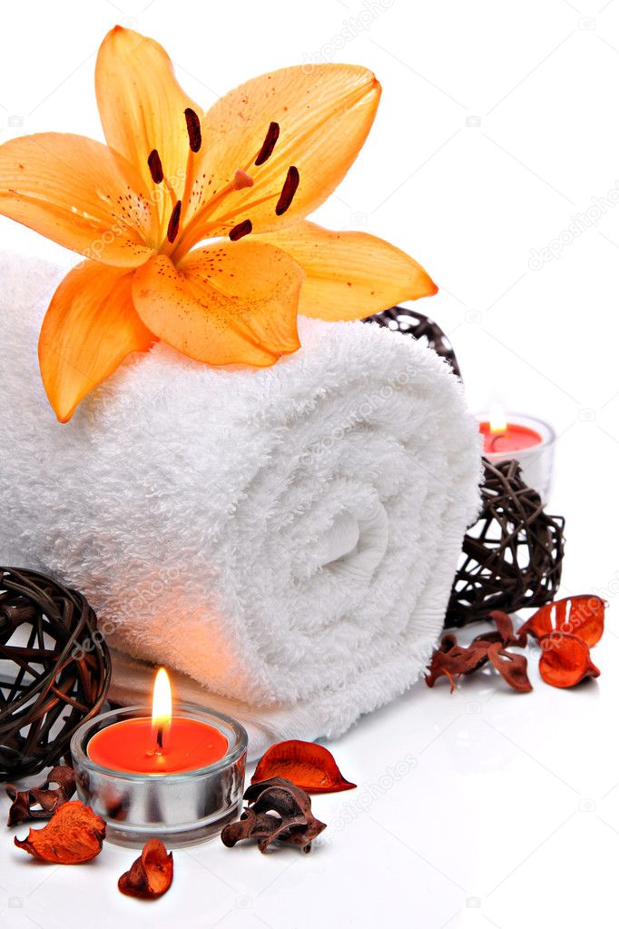 Spa border with towel and orange lily flower stock photo for Salon orange