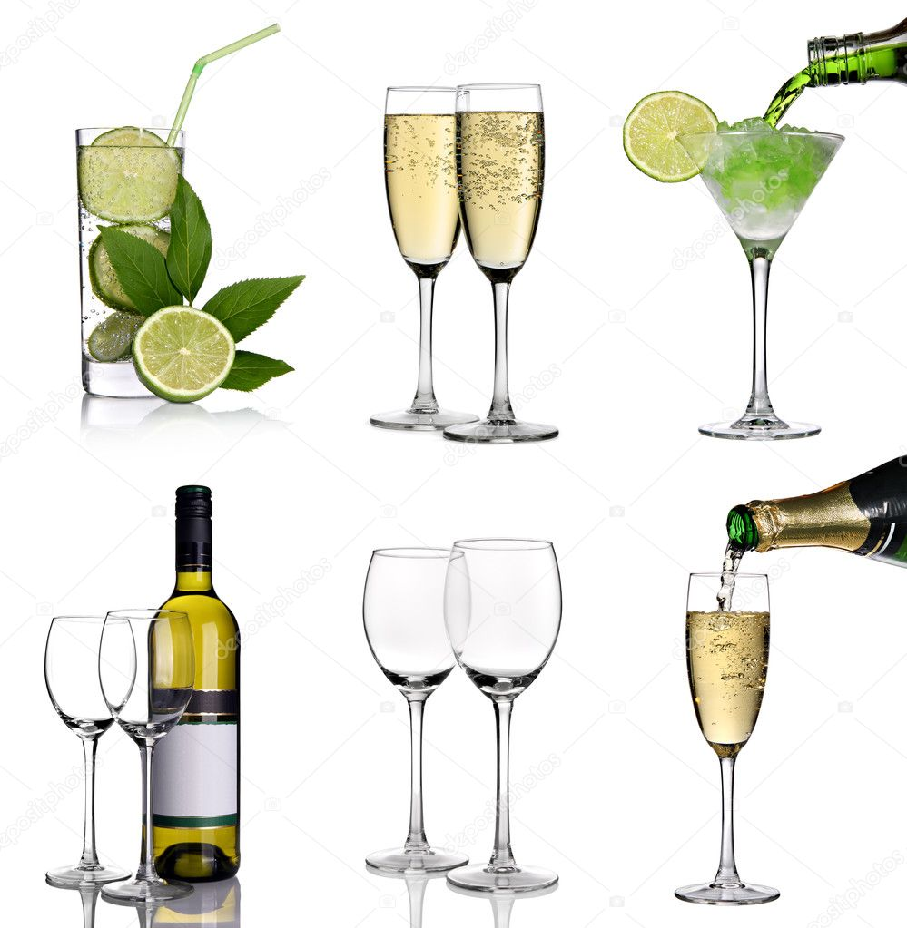 Alcohol collage with cocktails, champagne and wine on a white background  Stock Photo #8878455