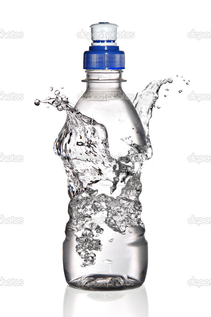 Water splashing around a bottle, isolated on a white background — Stock Photo #8909838