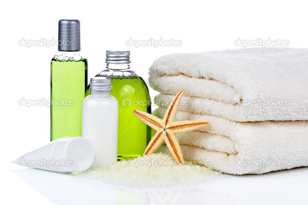 Skin care cosmetics and towel on white background  — Stock Photo #8909864