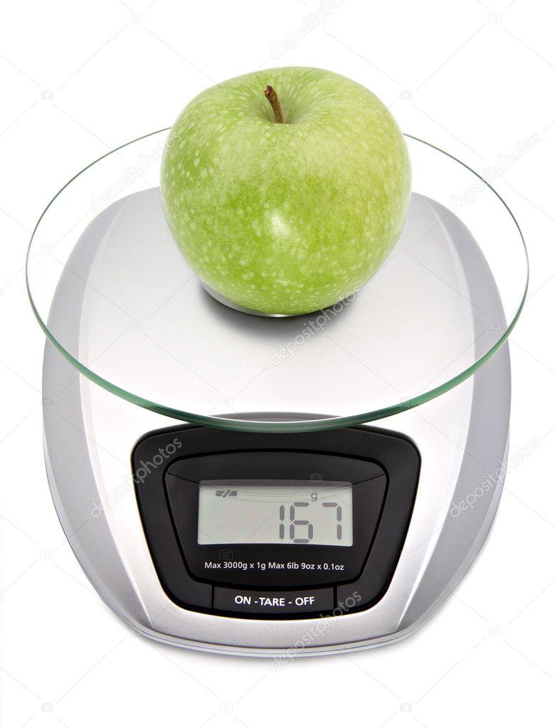Balance de cuisine num rique avec pomme verte - Balance numerique cuisine ...