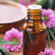 Stock Photo: Aromatherapy bottle with pink flowers