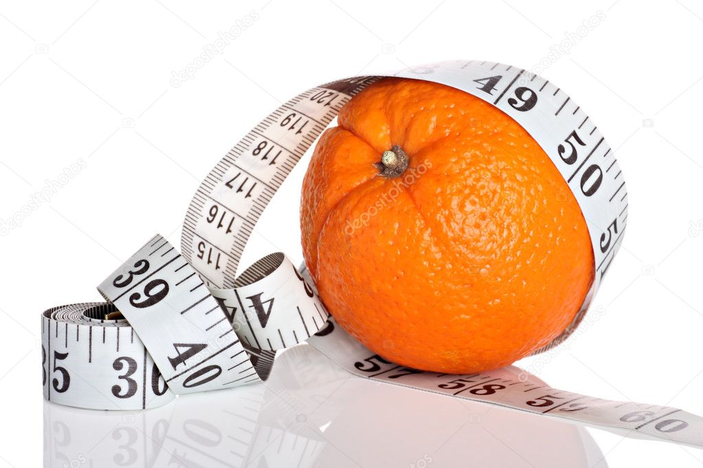 Diet concept, orange with measuring tape on white background — Stock Photo #9012279