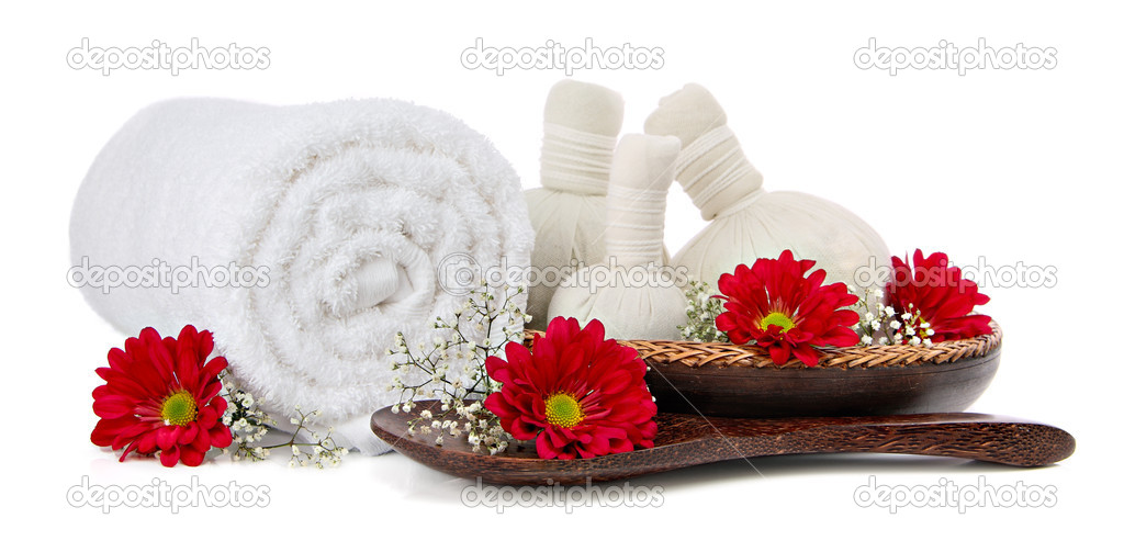 Spa massage setting with a fluffy towel, thai herbal compress massage balls — Stock Photo #9110182