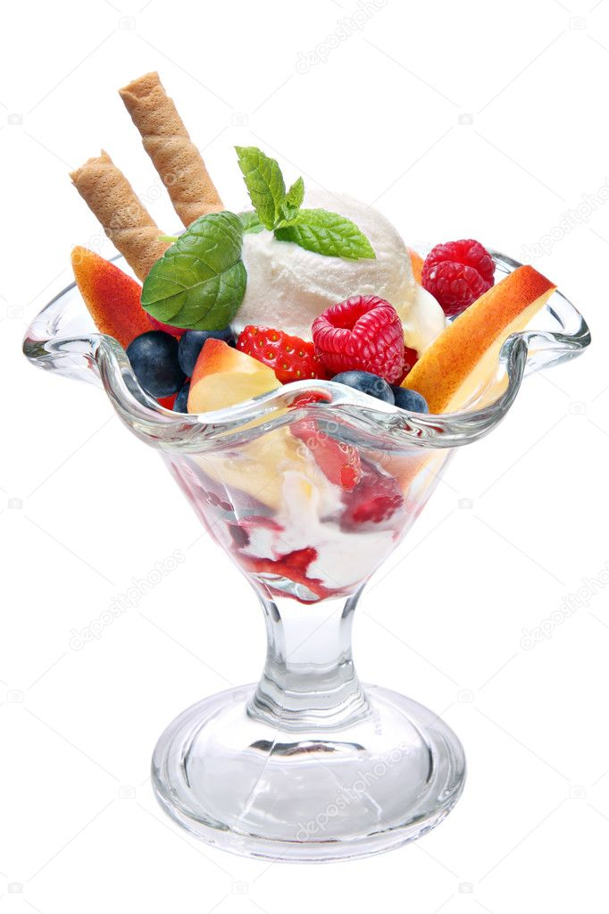 Vanilla ice cream with various fruits on a white background  Stock Photo #9345173