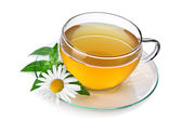 Cup of herbal tea with chamomile — Stock Photo