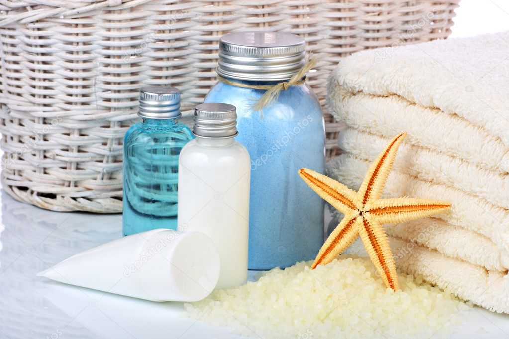 Skin care cosmetics or toiletries and towels — Stock Photo #9700769