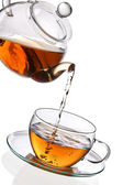 Tea poured into glass cup — Stock Photo