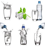 Water glasses and bottles collage — Stock Photo
