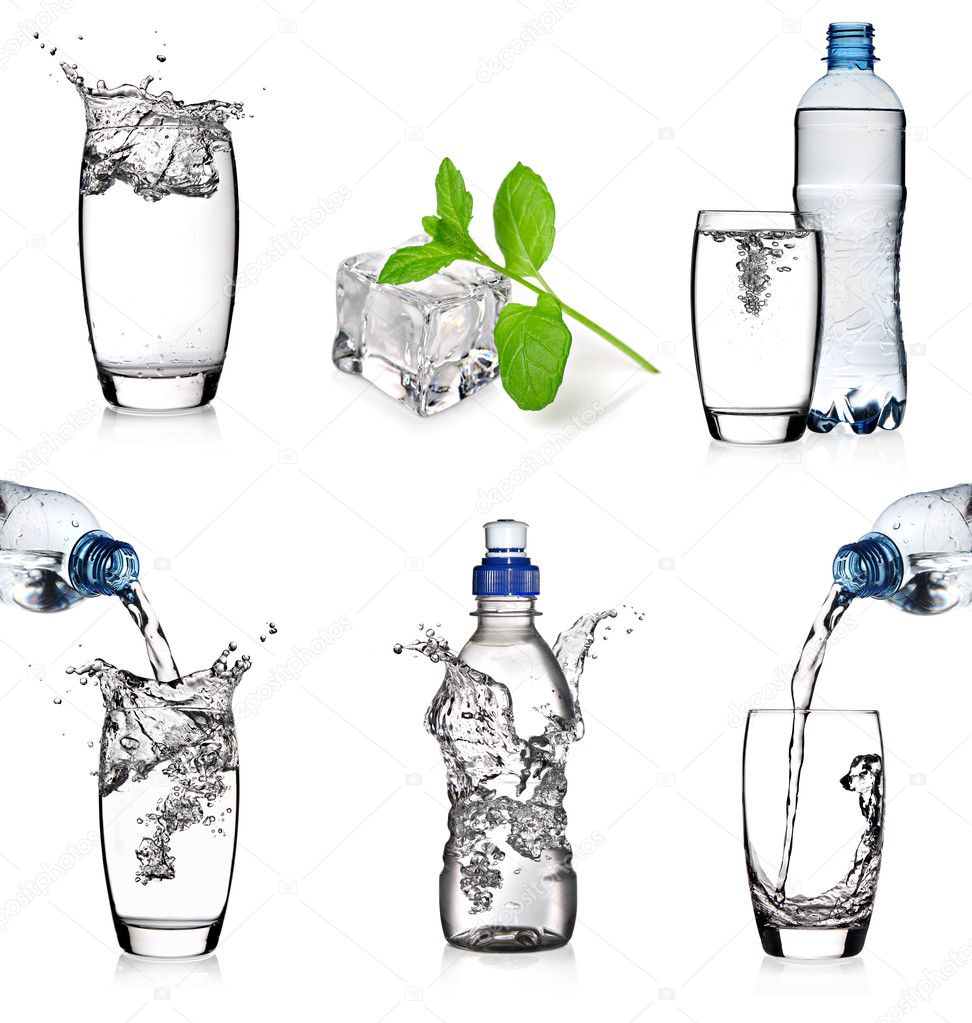 Six images of water in a glass or bottle on a white background  Stock Photo #9740189