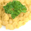 Macaroni and greens — Stock Photo