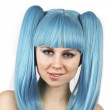 Young charming woman with blue hair — Stock Photo