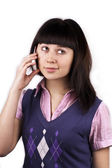 Smiling beautiful girl with mobile phone — Stock Photo