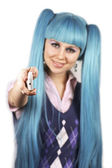 Portrait of young woman with blue hair showing mobile phone — Stock Photo