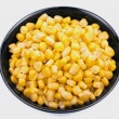 Black bowl of sweet corn — Stock Photo #9260506