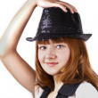 Young red pretty womin black cap isolated — Stock Photo #9696763