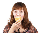 Portrait of funny pretty girl eating ice-cream isolated — Stock Photo