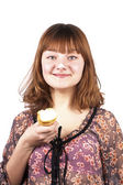Portrait of funny expressive girl eating ice-cream isolated — Stock Photo