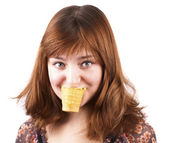 Funny woman eating ice-cream isolated — Stock Photo