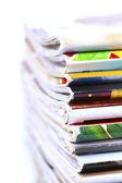 Stack of magazines isolated — Stock Photo