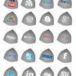 Social Media Buttons, icons set - Stock Photo