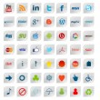 Social Media Buttons, 49 icons set - Stock Photo
