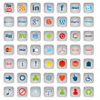 Social Media Buttons, 49 icons set — Stockfoto