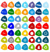 ソーシャル メディアのボタン、49 のアイコンを設定します。 — ストック写真