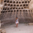 Girl at the Columbarium Cave at Horbat Midras, Israel — Foto Stock