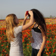 Beautiful Spring Girls with flowers - Stock Photo