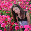Beautiful Jewish Girl at the flowers - Stockfoto