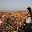 2 Girls picking flowers — Stock Photo