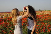 Beautiful Spring Girls with flowers — Stock Photo