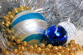 Decoration Christmas New Year silver ornament balls — Stock Photo