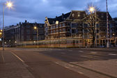 Busy Amsterdam Street at Sunrise — Stock Photo
