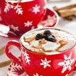 Yogurt In A Christmas Cup With Cinnamon — Stock Photo