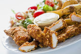 Chicken Strips With Country Potatoes — Stock Photo