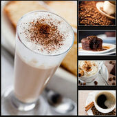 Collages de café y pastel — Foto de Stock