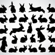 Stock Vector: Rabbit silhouettes