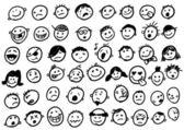 Słodkie twarze doodled — Wektor stockowy